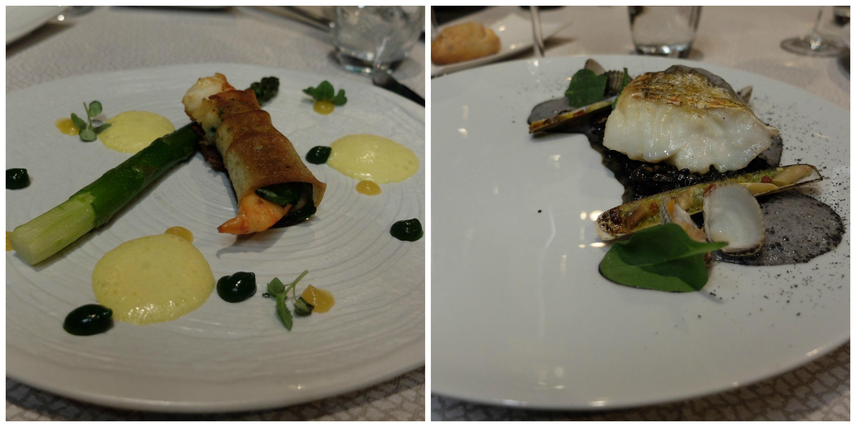 St Jacques snackées, espuma et asperges vertes Cabillaud avec risotto à l'encre de seiche et fruits de mer (coques, couteaux et moules)